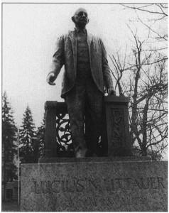 Bronze statue of Lucius Littauer Gloversville's greatest philanthropist.